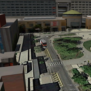 3D model image of Vari Hall and the York University bus loop from above